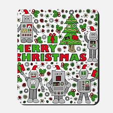 Merry Christmas Robots Mousepad