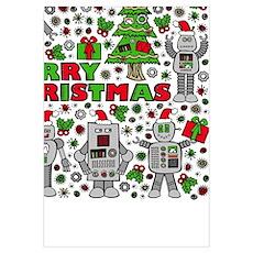 Merry Christmas Robots Poster