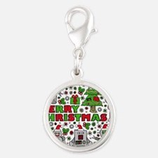 Merry Christmas Robots Silver Round Charm