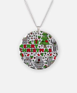 Merry Christmas Robots Necklace