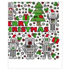 Merry Christmas Robots Poster