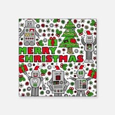 "Merry Christmas Robots Square Sticker 3"" x 3"""