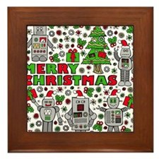 Merry Christmas Robots Framed Tile