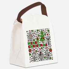 Merry Christmas Robots Canvas Lunch Bag