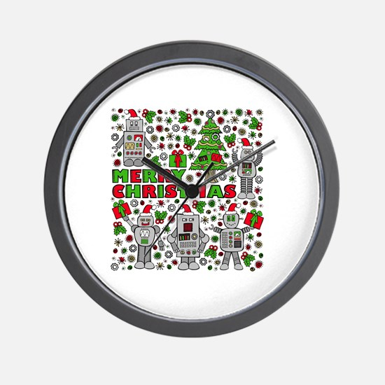 Merry Christmas Robots Wall Clock