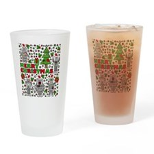 Merry Christmas Robots Drinking Glass