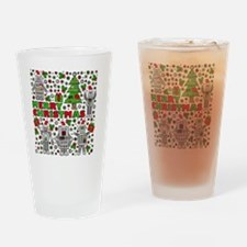 Merry Christmas Robots Drinking Glass