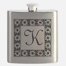 Sunflower Border Letter K Flask