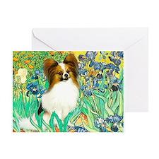 Irises / Papillon Greeting Card