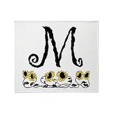 Letter M Sunflowers Throw Blanket