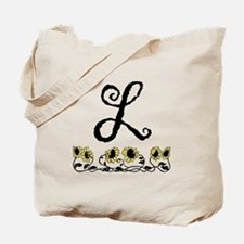 Letter L Sunflowers Tote Bag