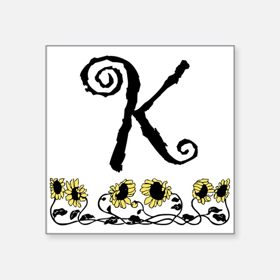 Letter K Sunflowers Sticker
