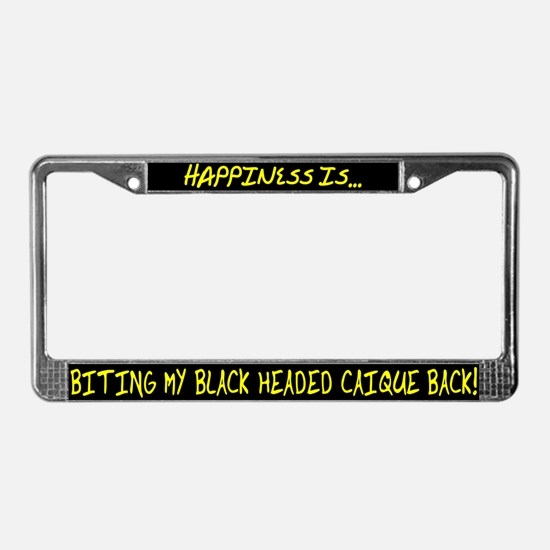 HI Biting Black Headed Caique License Plate Frame