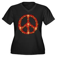 Poinsettia Peace Wreath Women's Plus Size V-Neck D