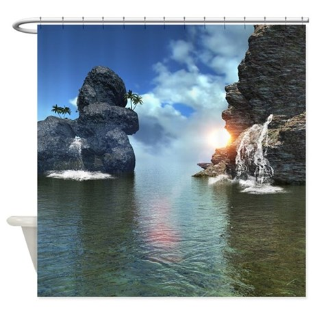view over the ocean shower curtain