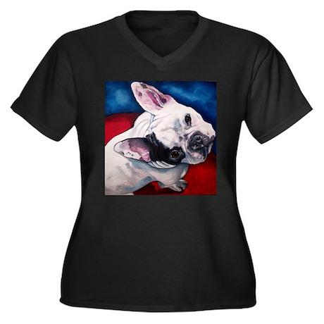 Penelope Women's Plus Size V-Neck Dark T-Shirt