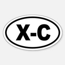 Basic Cross Country Skiing Oval Decal