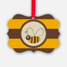 Cute Honey Bee on Yellow Brown St Ornament