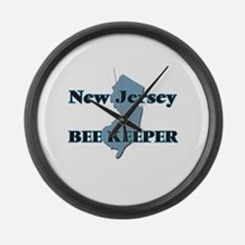New Jersey Bee Keeper Large Wall Clock