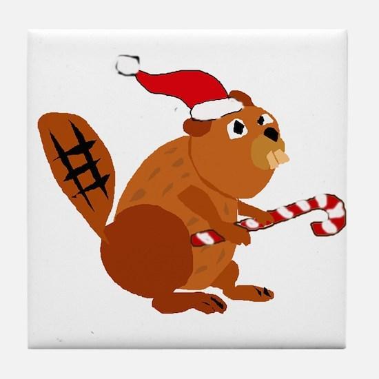 Funny Beaver Christmas Tile Coaster