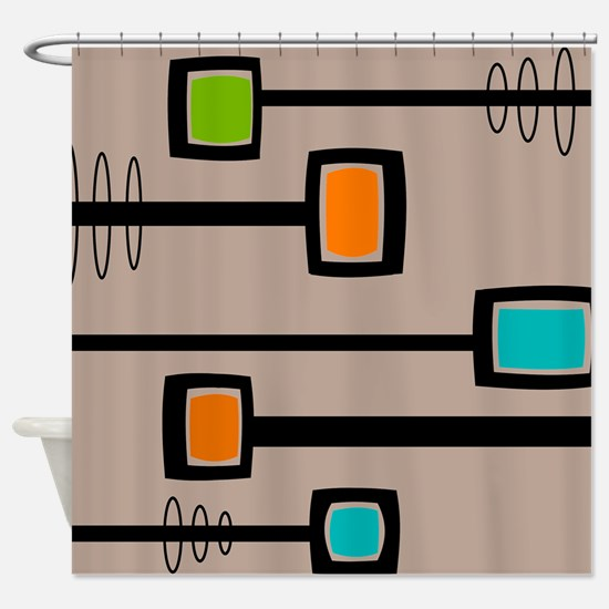 Mid-Century Abstract Art Shower Curtain
