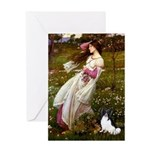 Windflowers & Papillon Greeting Card