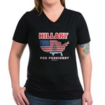 Hillary for President Women's V-Neck Dark T-Shirt
