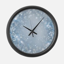 Pretty Blue Glam Sparkle Bokeh Large Wall Clock