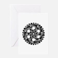 Gearwheel in black and white Greeting Cards