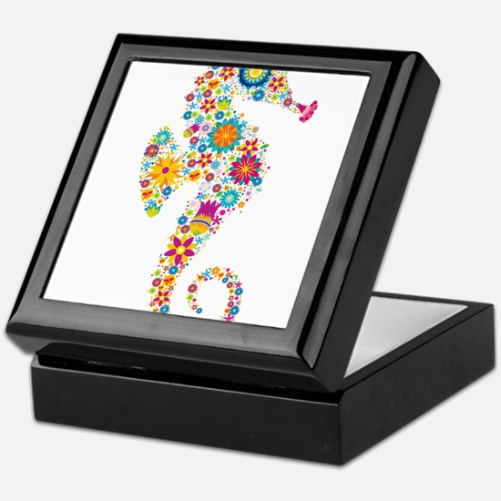 Cute Colorful Retro Floral Sea Horse Keepsake Box