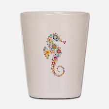 Cute Colorful Retro Floral Sea Horse Shot Glass