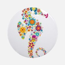 Cute Colorful Retro Floral Sea Hors Round Ornament
