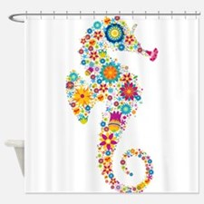 Cute Colorful Retro Floral Sea Hors Shower Curtain