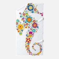 Cute Colorful Retro Floral Sea Horse Beach Towel