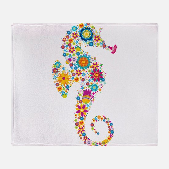 Cute Colorful Retro Floral Sea Horse Throw Blanket