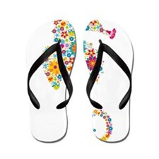 Cute Colorful Retro Floral Sea Horse Flip Flops