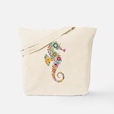 Cute Colorful Retro Floral Sea Horse Tote Bag