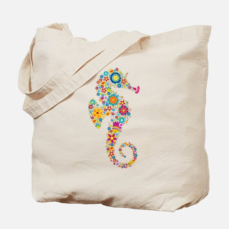 Cute Colorful Retro Floral Sea Horse Tote Bag