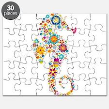 Cute Colorful Retro Floral Sea Horse Puzzle