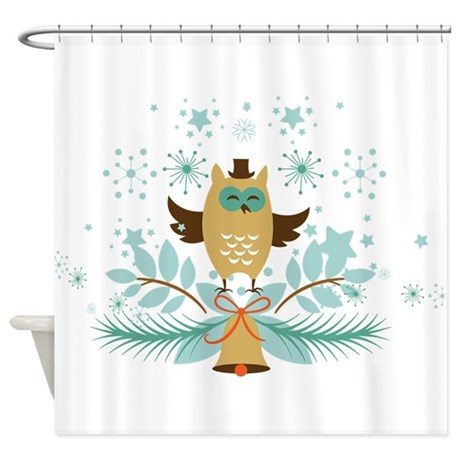 cute christmas owl with gold christ shower curtain by