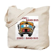 What Happens on the Band Bus Tote Bag