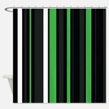 Green black and white stripes. Shower Curtain
