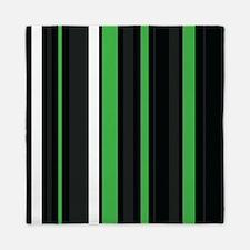 Green black and white stripes. Queen Duvet