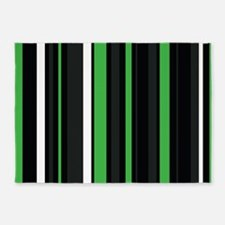 Green black and white stripes. 5'x7'Area Rug
