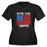 Vote for Obama Women's Plus Size V-Neck Dark T-Shi
