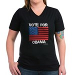 Vote for Obama Women's V-Neck Dark T-Shirt