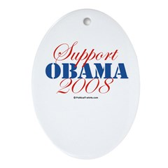 Support Obama Oval Ornament
