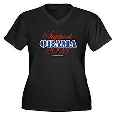 Support Obama Women's Plus Size V-Neck Dark T-Shir