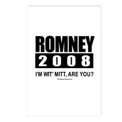 Romney 2008: I'm wit' Mitt. Are you? Postcards (Pa