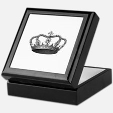Silver Vintage Crown Keepsake Box